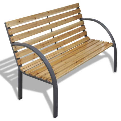 Garden bench with wooden slats and iron frame