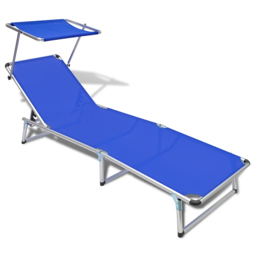 Cot with Aluminum Frame and Fabric in Textilene Blue
