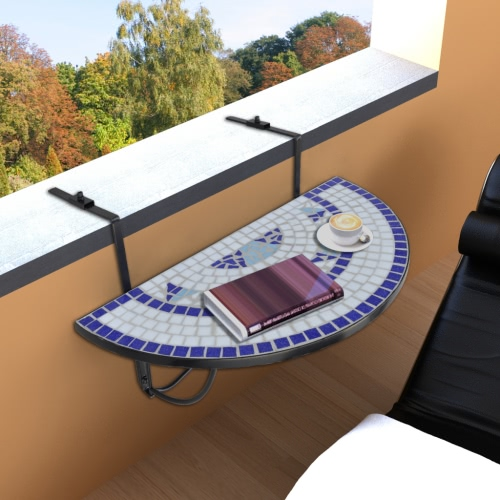 Mosaic Balcony Table Hanging Semi-circular Blue White