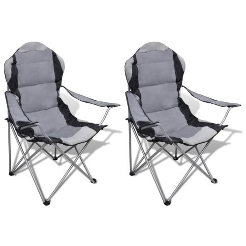Chaise pliante Set 2 pcs chaises de camping en plein air XXL Sac gris