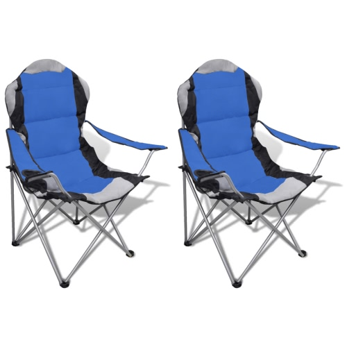 Chaise pliante Set 2 pcs chaises de camping en plein air XXL avec sac bleu