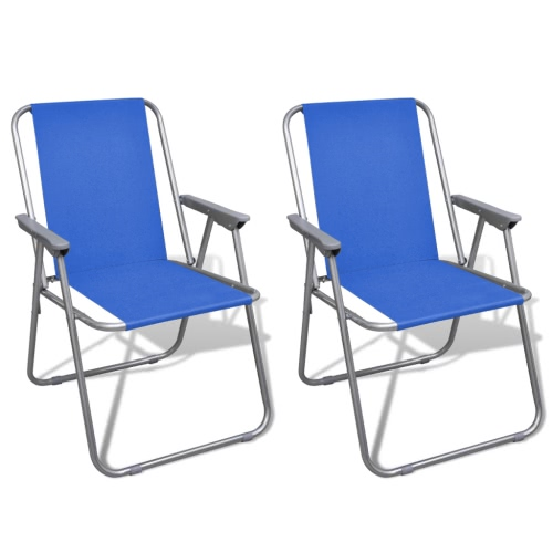 Folding Chair Set 2 pcs Camping Outdoor Chairs Blue
