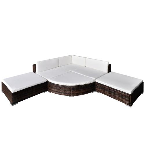 Mobili da giardino mobili in rattan poli Set Lounge Brown 16 pezzi