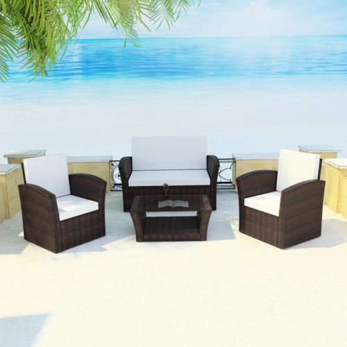 Brown all'aperto Poly Rattan Lounge Set con cuscini