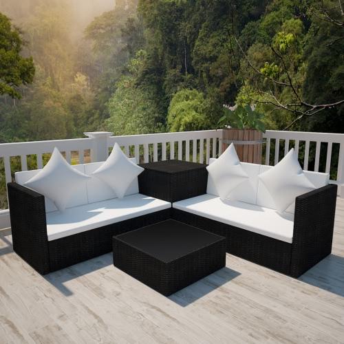 Noir Poly Rotin Lounge avec espace de rangement Chest