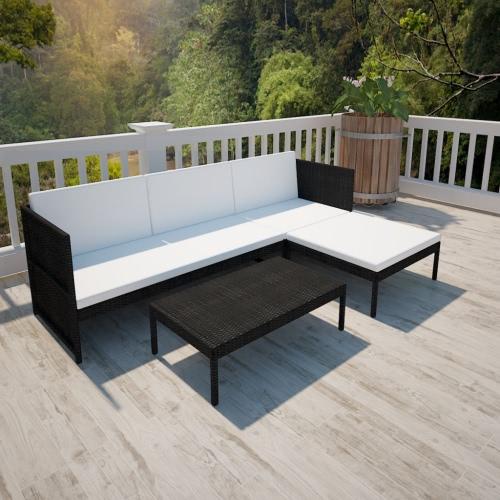 Noir Poly Outdoor Rattan Lounge Set Three-Seat Sofa