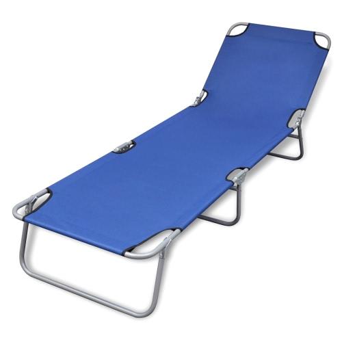 Pliable Sun Lounger avec dossier réglable Bleu