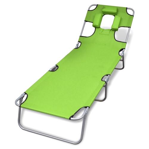 Pliante Chaise longue avec coussin Head Dossier réglable Vert Pomme
