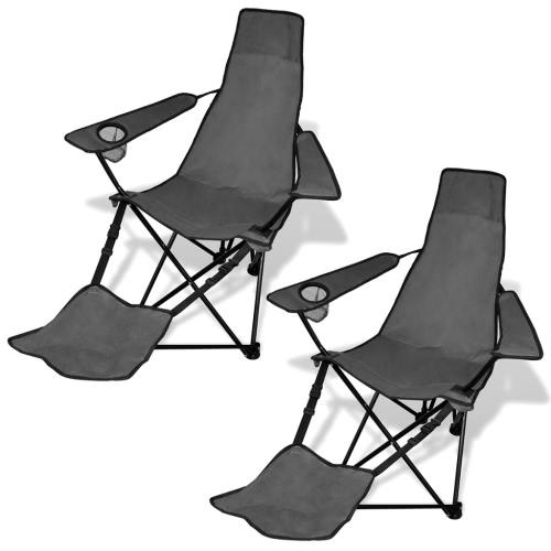 2 pcs Chaise Camping pliable avec repose-pieds Gris