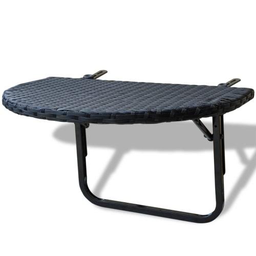 Table basse en rotin Balcon Poli Noir