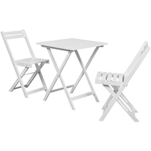 Three Piece Bistro Set Balcon Set blanc bois d'Acacia