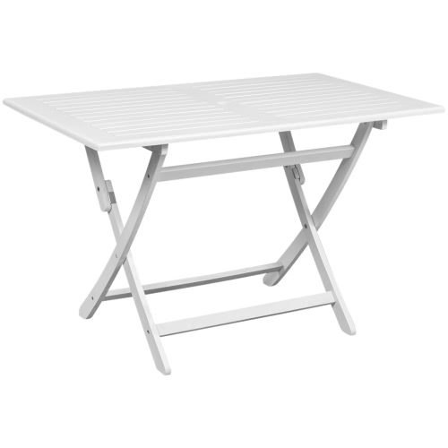 Outdoor Dining Table blanc bois d'Acacia rectangulaire
