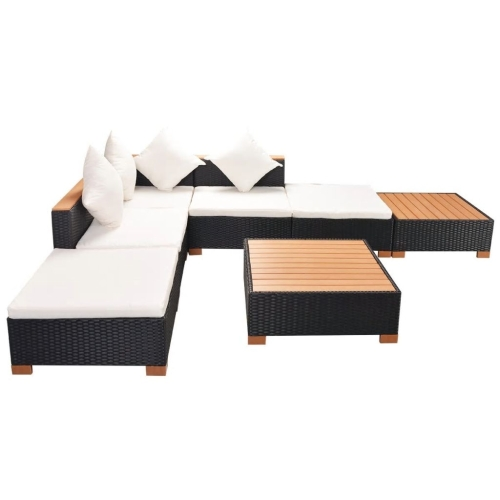 16 Piece Garden Sofa Set Poly Rattan Polywood / WPC Top Black