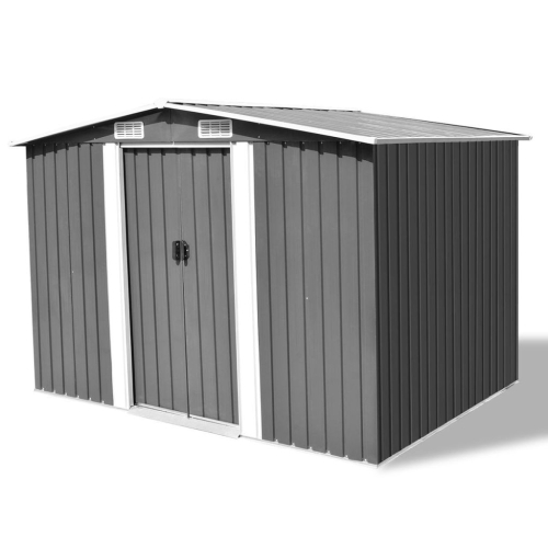 42907 Garden Storage Shed Grey Metal 257x205x178 cm