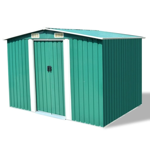 Almacenamiento de jardín Shed Green Metal 257x205x178 cm