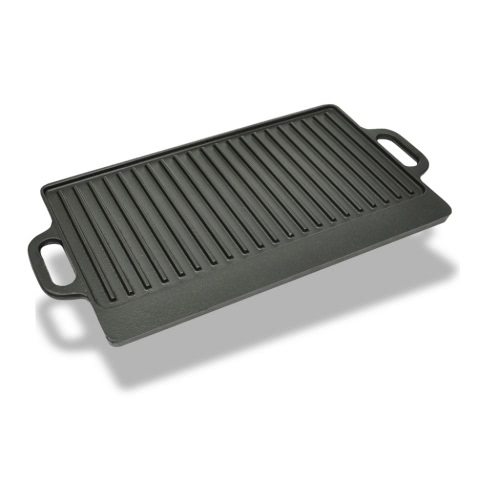 Grill BBQ Barbecue Plate Cast Iron Platter Reversible
