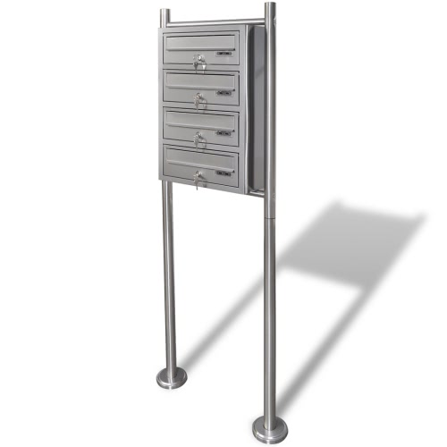 Quadruple Mailbox on Stand Stainless Steel
