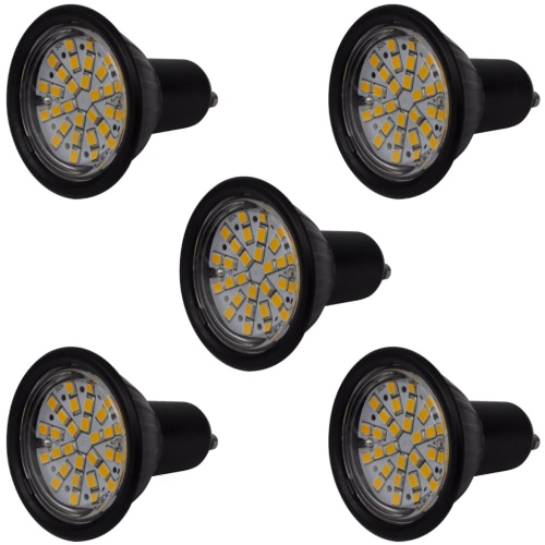 Reflektor Zestaw 5 Żarówki LED 3W GU10 Czarna Ciepła biel