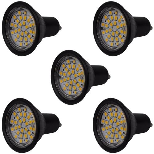Spotlight Set 5 LED-Birnen-Schwarz 3W GU10 Warmweiß
