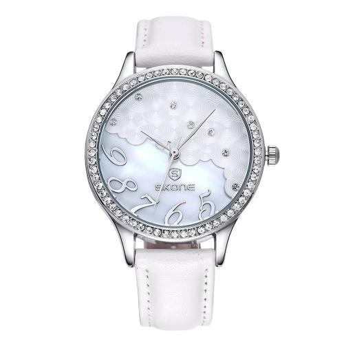 SKONE Women Gold Dress Watches Cloud Crystal Rhinestone Dial Leather Watch Luxury Casual Relogio Quartz WristWatch
