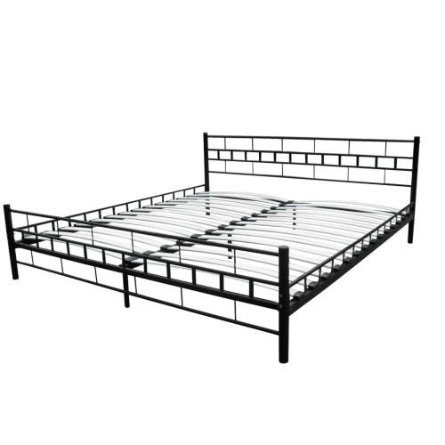 Podwójne łóżko z materacem 180x200 cm czarny