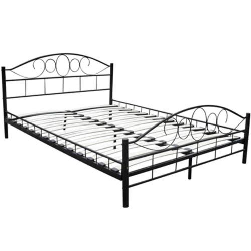Black Metal Bed 140 x 200 cm