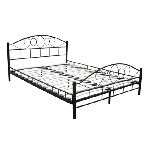 Metal Bed 180 x 200 cm Black Curved