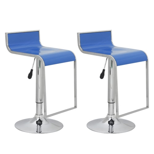 Bar stool low back blue ABS-plastic (set of 2)