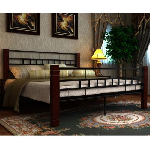 Metall Doppelbett Mahagoni 140x200cm mit Lattenrost