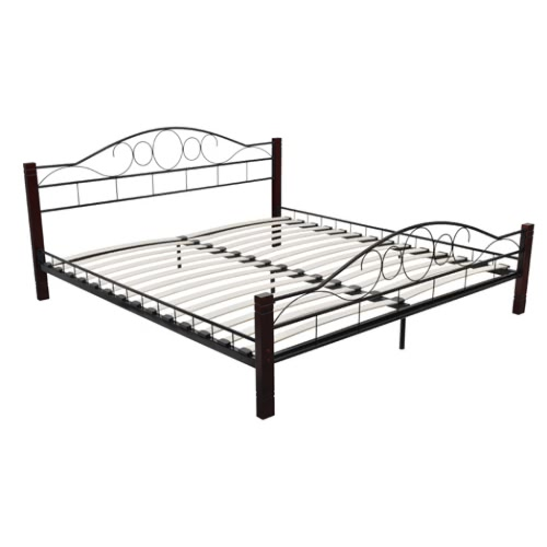 Металлическая двуспальная кровать с реечным днищем 140x200 из красного дерева