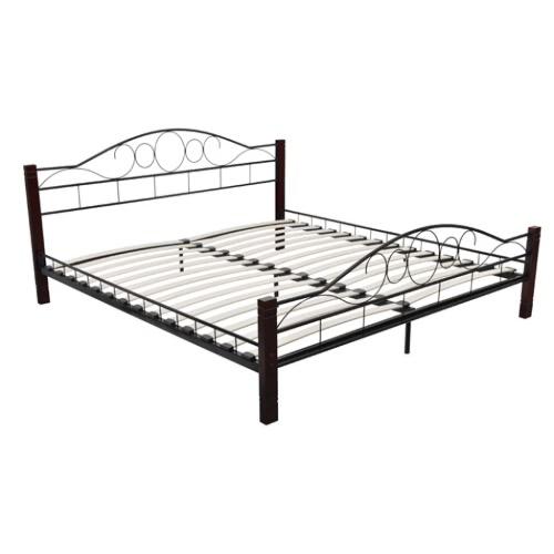 cama de metal y patas de madera 140 x 200 cm