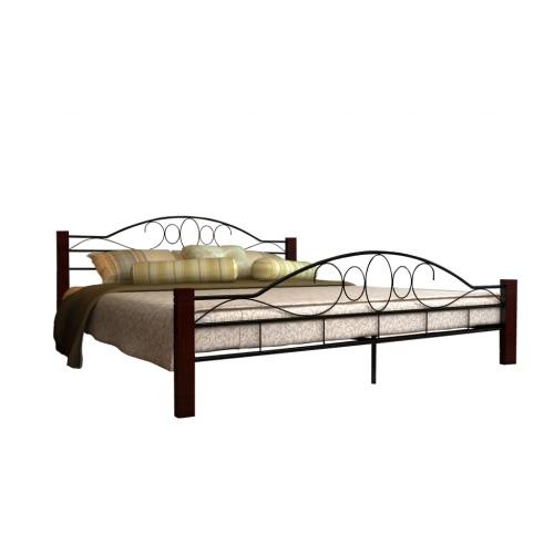 Металлическая двуспальная кровать с реечным днищем 180x200 из красного дерева