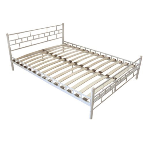 Metal Bed 180 x 200 cm White Block