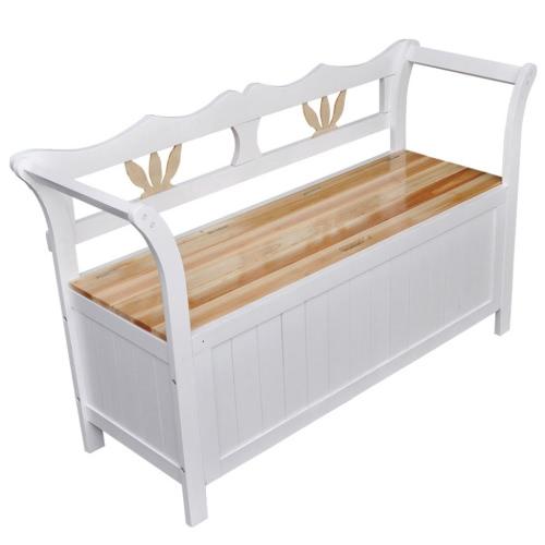 Blanc banc en bois confortable avec espace de rangement pour la maison