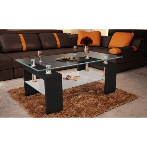 High Gloss Coffee Table MDF Frame Black