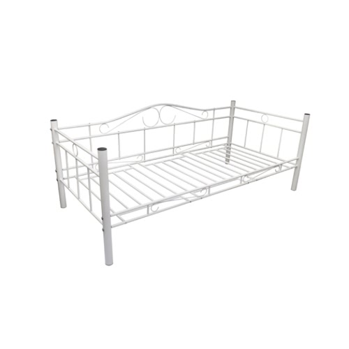 Single Day Bed Metal 90 x 200 cm White