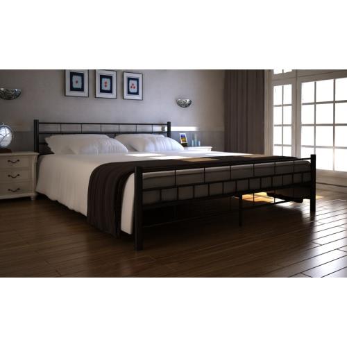 De metal cama de 180 x 200 cm Bloque Negro