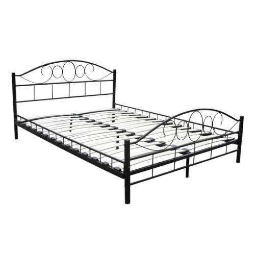 Metal Bed 180 x 200 cm Black Curved
