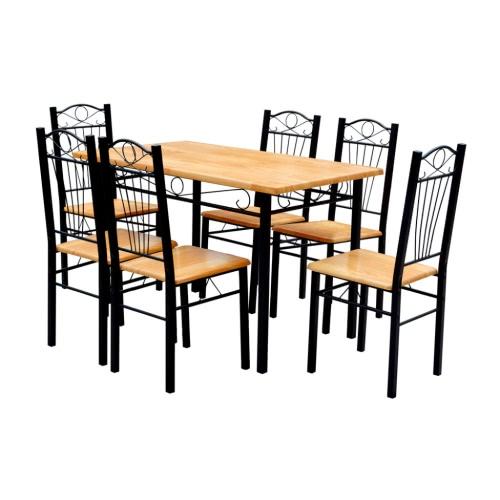 Mesa de comedor y 6 sillas de madera clara -