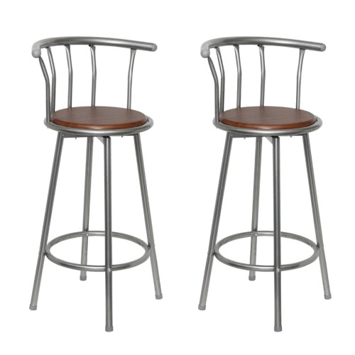 2 pcs MDF Bar Stool Steel Frame