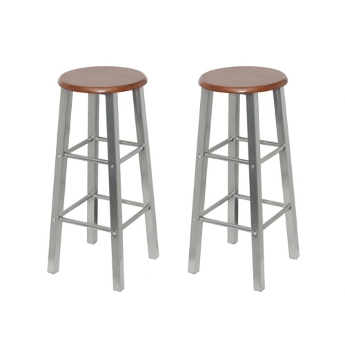 2 pcs MDF Bar Stool Metal Frame