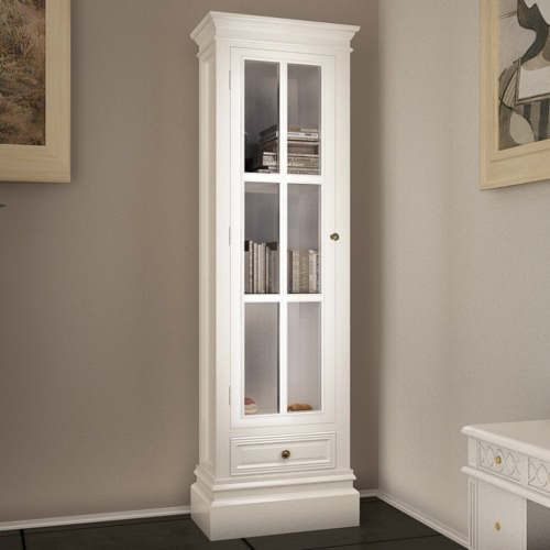 White Shabby Wooden Chic Bookcase Cabinet with 3 shelv