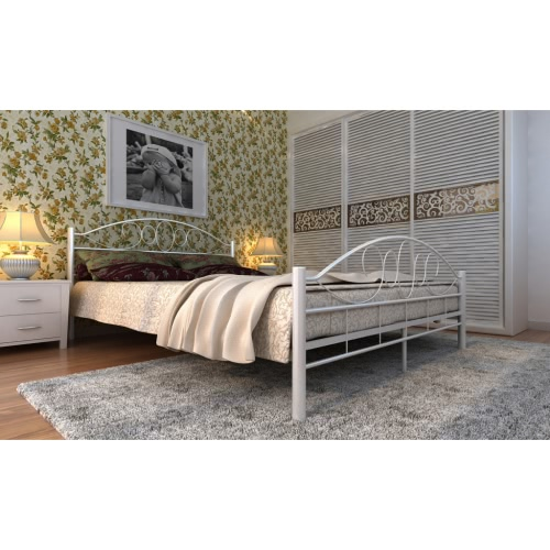 Metal Bed 140 x 200 cm White Curved