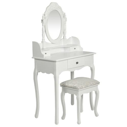 Coiffeuse et siège blanc
