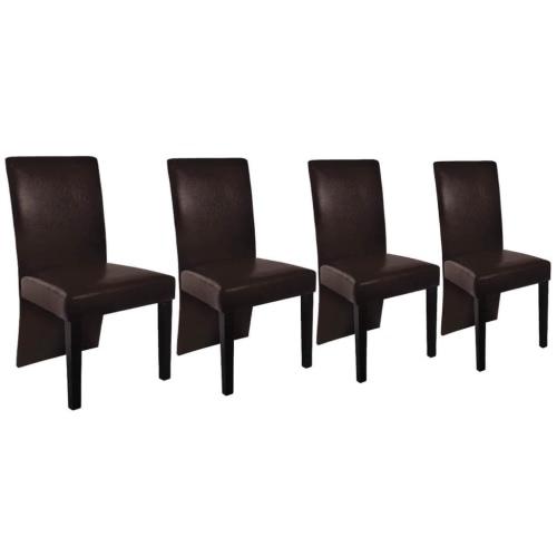 Lot de 4 chaises design bois marron