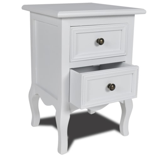 Table de chevet en pin - blanc