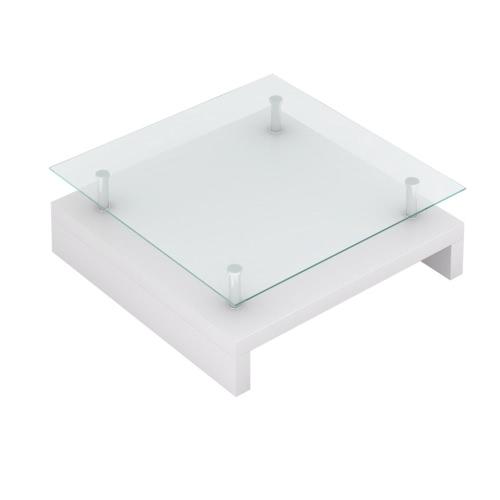 Table basse carrée en verre - blanc laqué