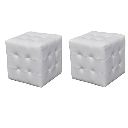 Lot de 2 Poufs cube capitonné blanc