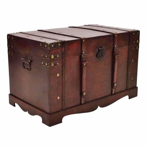 Coffre de rangement en bois brun