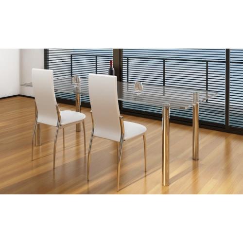 2 sillas de restauración cromo cuero blanco